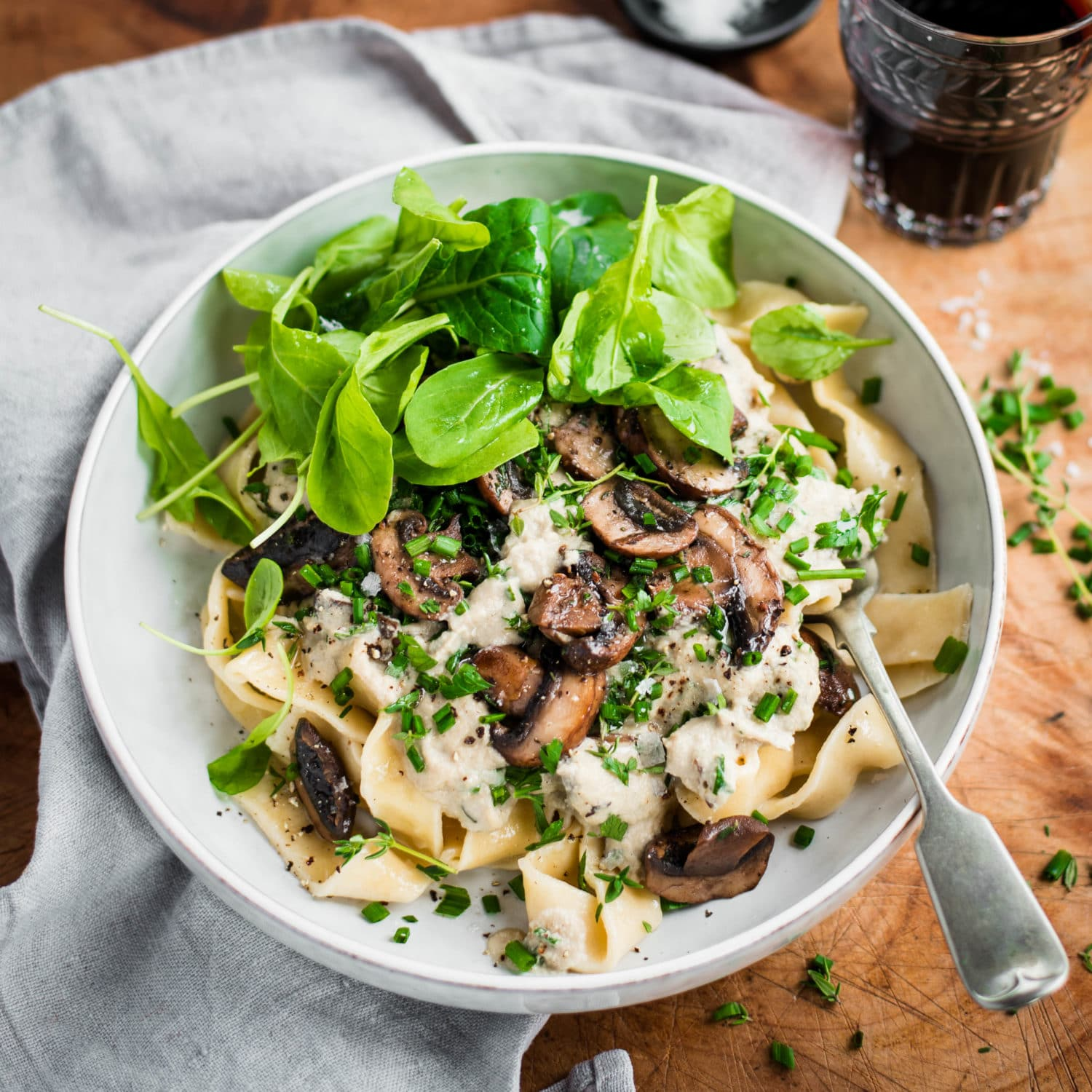 Mushroom And Herb Pasta With Vegan Cashew Cream Sauce Nadia Lim